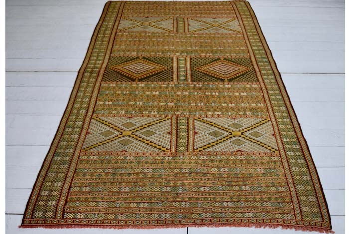 Moroccan embroidered kilim 260 x 145cm