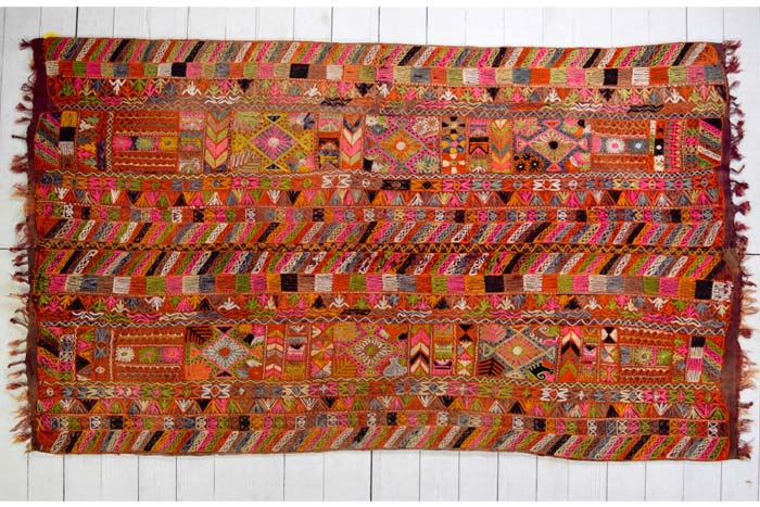 Embroidered Marsh Arab kilim 285 x 163cm