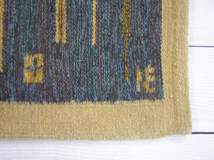 Swedish signed flatwoven rug 162 x 90cm