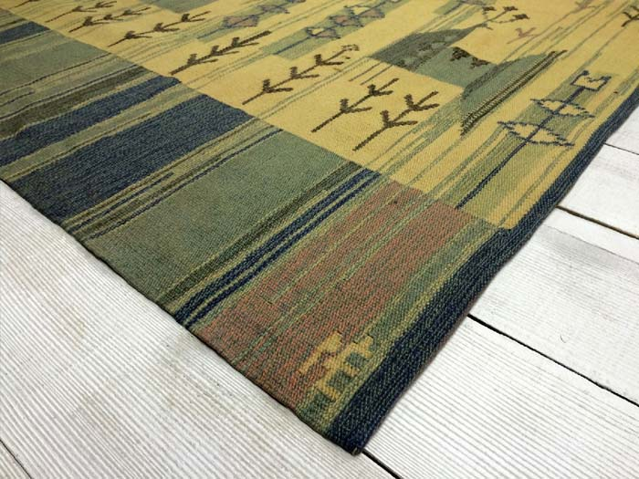 Signed 1950s Swedish flatwoven rug 170 x 114cm